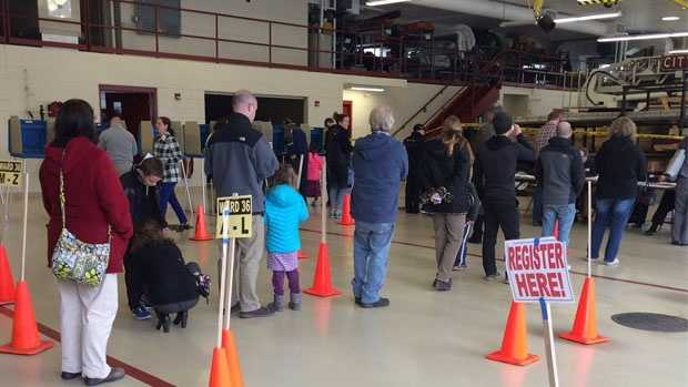 Voters wait to vote in Wisconsin's spring election at Waukesha Fire Station 5 on Tuesday, April 5, 2016.