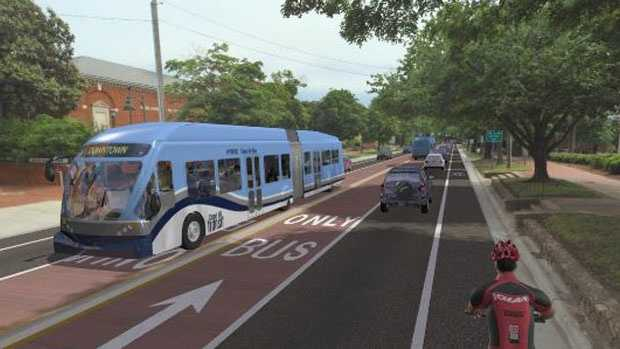 An artists rendering of a rapid transit bus in Milwaukee.