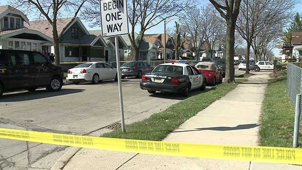 Milwaukee police investigate a shooting near North 23rd and West Melvina streets on Sunday, April 17, 2016.