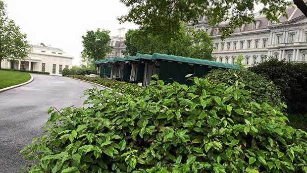 Outside the White House.