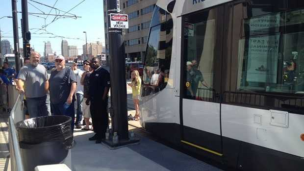 The first person in line to ride KC's Streetcar arrived around 3 1/2 hours before service opened to the public.