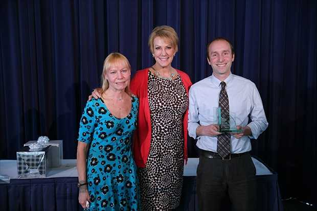 Siegfriend Spelter (right) of Hayes Bilingual School was the Top Teacher of April 2016.
