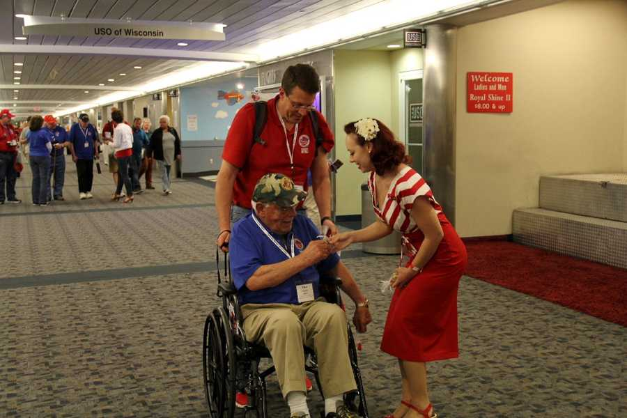 Most of the vets have no idea what is waiting for them in the main terminal of the airport.