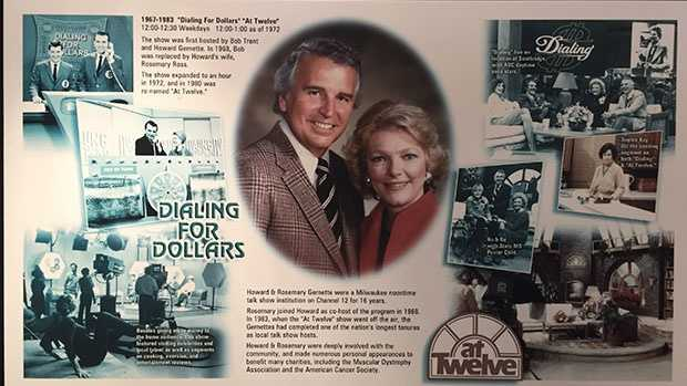 This plaque of Rosemary Gernette and her husband, Howard Gernette, proudly hang on a wall in WISN-TV's lobby that showcases the station's history.