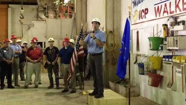 Wisconsin Gov. Scott Walker speaks at International Concrete Products in Germantown on Thursday, July 7, 2016.