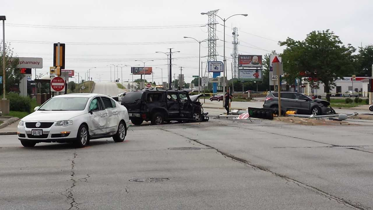 Three people were taken to the hospital following a crash near 76th Street and Mill Road on Saturday morning.