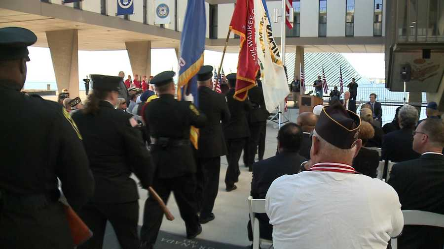 A ceremony was held Sunday morning at the War Memorial Center in Milwaukee.