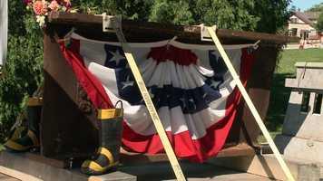 It includes a 2,000 pound steel beam from the World Trade Center, that was on display Sunday.