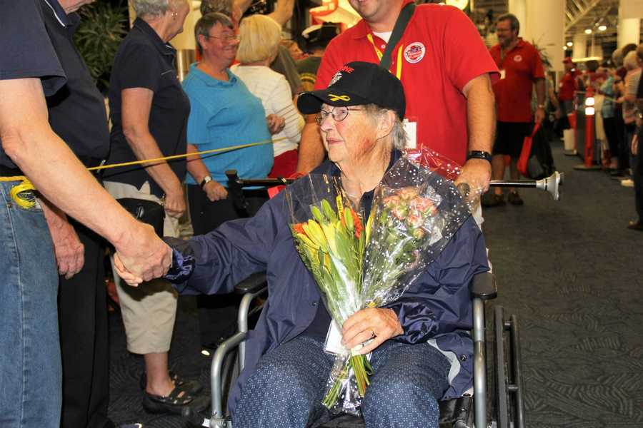 The 35th Mission took 87 male and 1 female veteran to see the memorials built in their honor.  She is a WWII Marine.