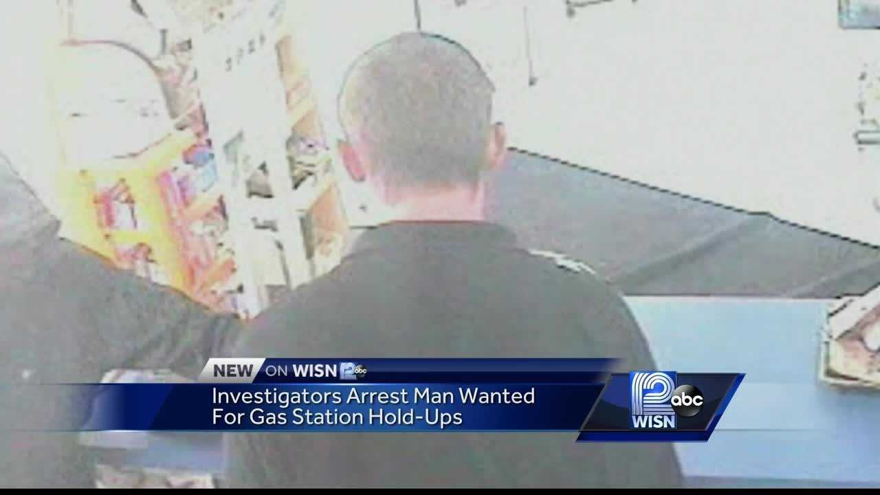 A man wanted for holding up several gas stations with an assault rifle is arrested.