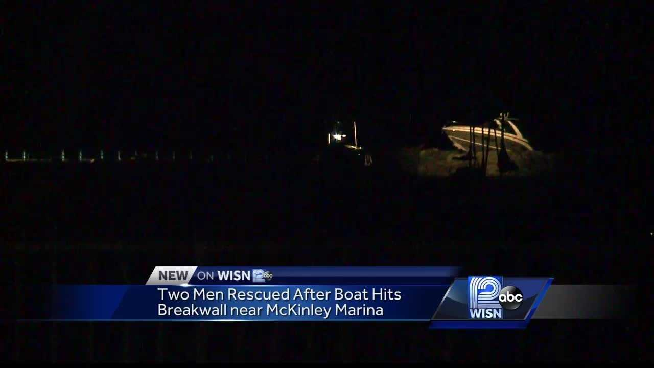 The Milwaukee Police department says crews were called just after 11 p.m. Friday night after a 32 foot power boat hit the breakwall. Investigators say the boat was speeding and the men are being investigated for OWI.