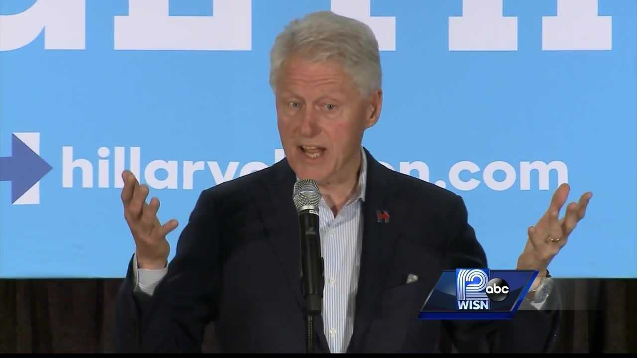 Former President Bill Clinton was in Greenfield campaigning for his wife