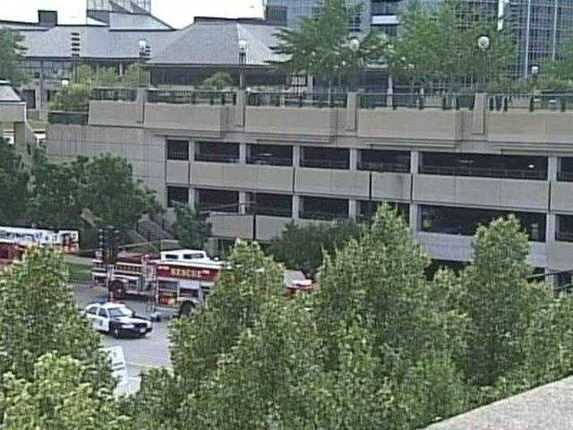 A 30-foot section of concrete broke away from the parking structure and fell to the ground.