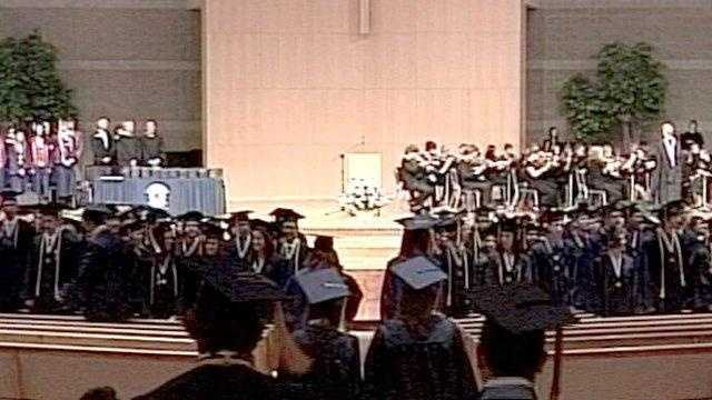 High Schools hold graduation ceremony in area church.