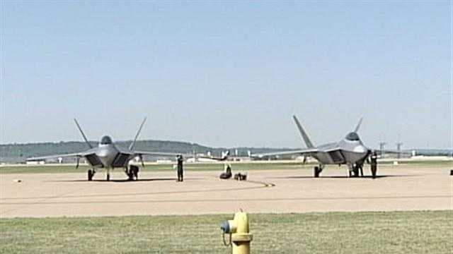 The F-22 Raptor, the marquee attraction of the Thunder Over Louisville air show, arrives in Louisville on Wednesday.