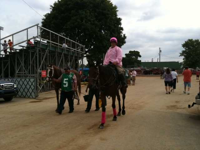Pinked out on the backside on Oaks Day.