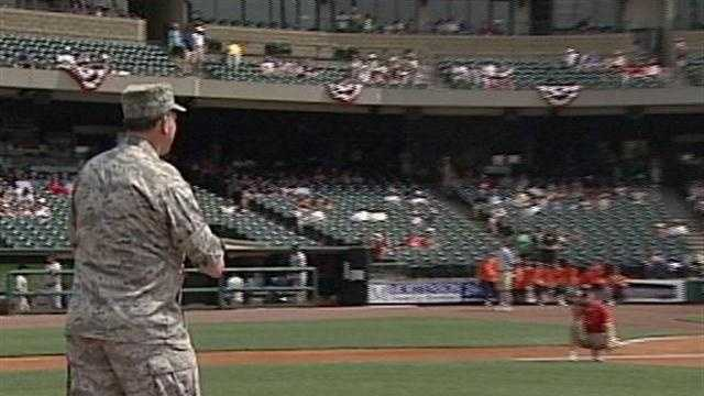 Members of the military are honored at Monday's Louisville Bats game.