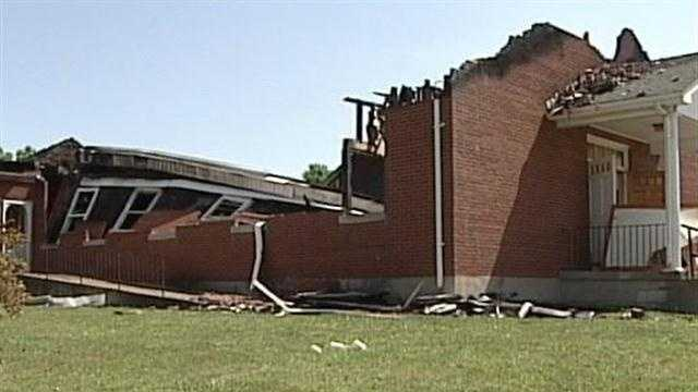 A Hardin County church and home are destroyed by a single lightning bolt Tuesday.
