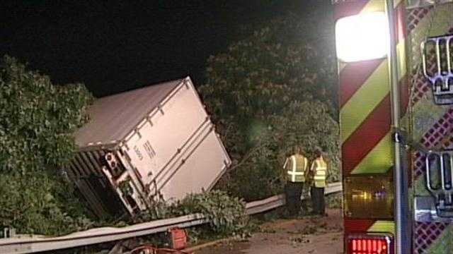 A semi overturned on I-71, spilling hazardous chemicals