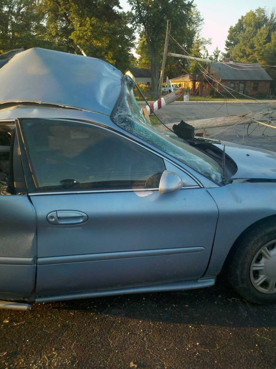 This is the car the couple hit during the police pursuit.