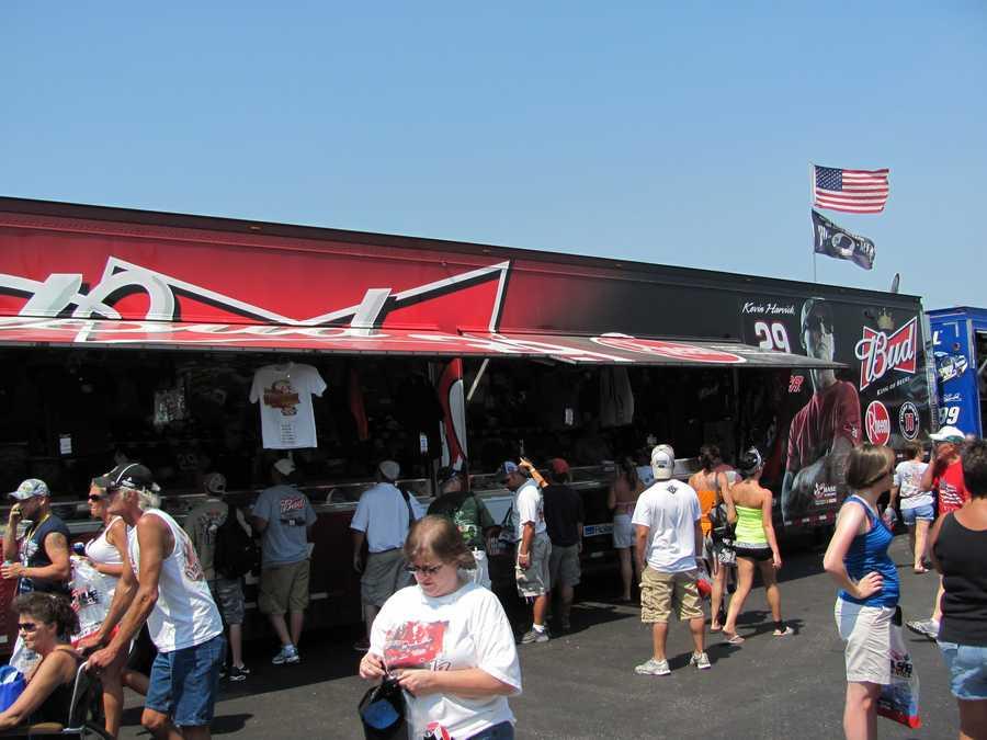 Vendor trailers were set up selling fan gear.