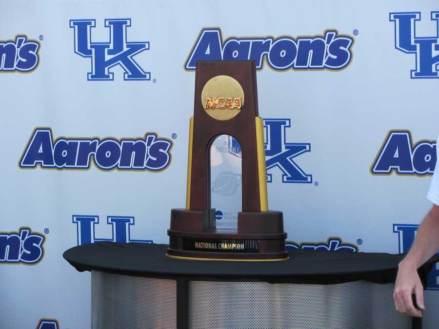 The University of Kentucky's NCAA basketball national championship trophy was on display.