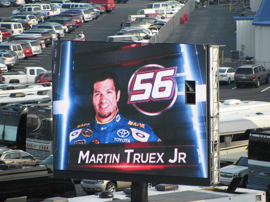 Drivers are shown on the video monitors during the driver introductions.
