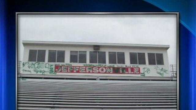 Police are looking for suspects responsible for vandalism at Jeffersonville High School.