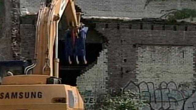 Some buildings are being demolished on E. Main Street to make way for the Ohio River Bridges Project.