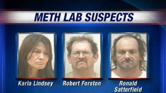 Clarksville police arrest three people who live across the street from each other who they say were making methamphetamine.