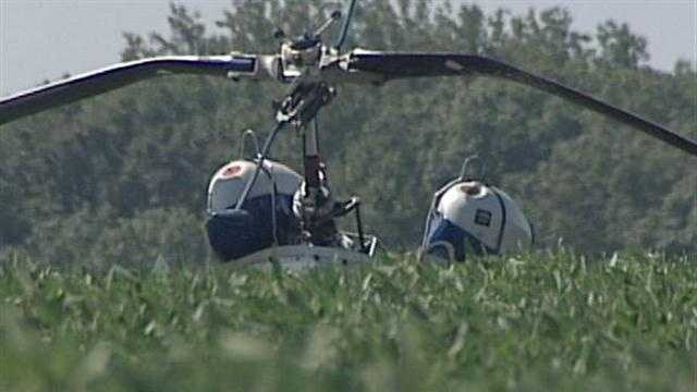 A pilot is lucky to be alive after his helicopter crashed in rural Jefferson County, Ind.