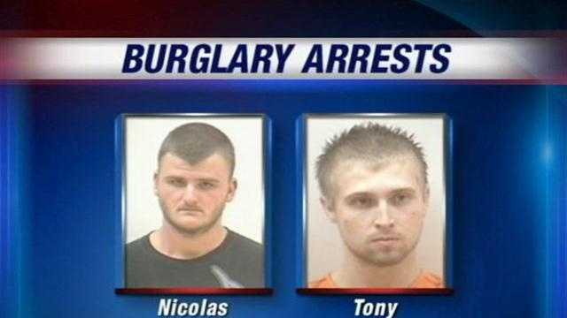 Southern Indiana police made two arrests in what they called a maddening string of burglaries in two small Clark County communities.