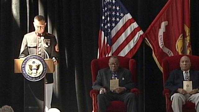 Two surviving members of the Montford Point Marines are honored in Louisville on Wednesday.
