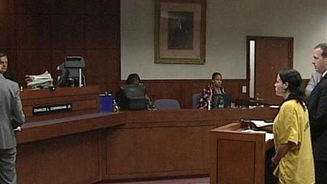 The Rineyville woman accused of killing her grandmother and then hiding her in a trash can was arraigned Monday morning in circuit court.