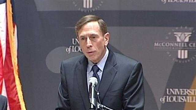 CIA director David Petreaus spoke to students at the University of Louisville's McConnell Center on Monday.