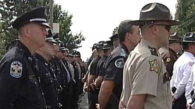 Friends, family and fellow officers said goodbye to a Hodgenville police officer killed in the line of duty.