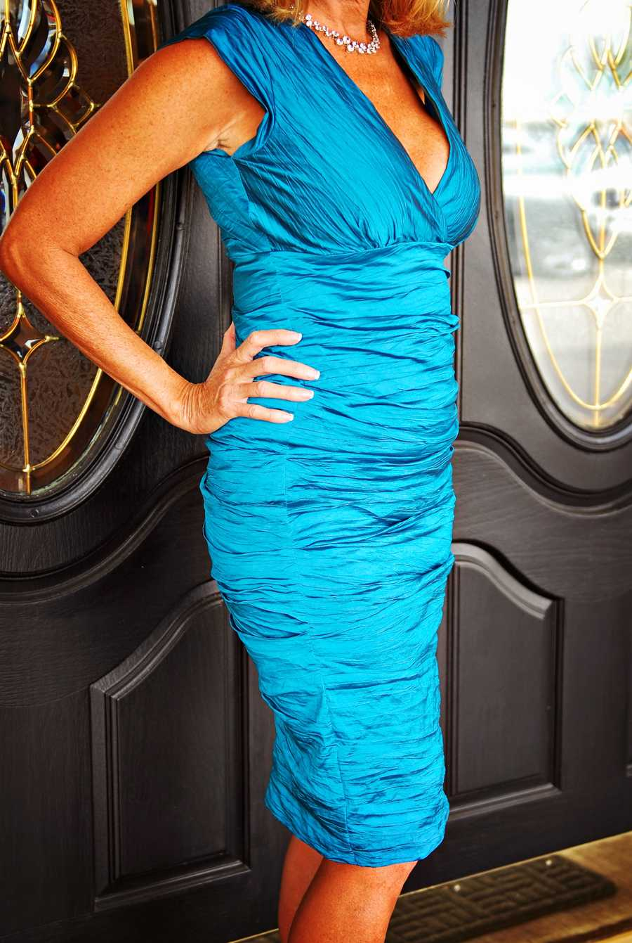 Nicole Miller peacock cap sleeve dress (Vote here)