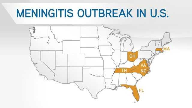 Meningitis outbreak in US map