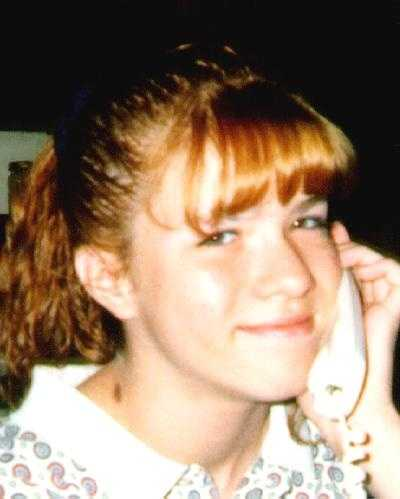 Lydia Ann Perkins is 29 years old and was last seen on October 26, 1997 in Lexington, Kentucky. She has a brown birthmark on the right-side of her neck as shown in the picture, a scar on her right eyebrow and a scar on the center of her forehead. Her hair may be dyed red  and cut short. She may also be using the last name Moberly.