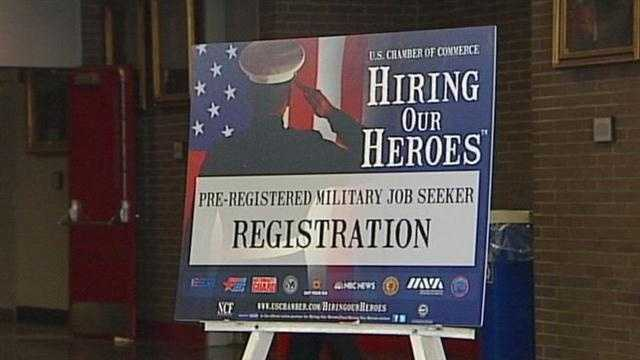 More than 75 employers were at a job fair in Louisville to help vets and their spouses transition into the civilian workforce.