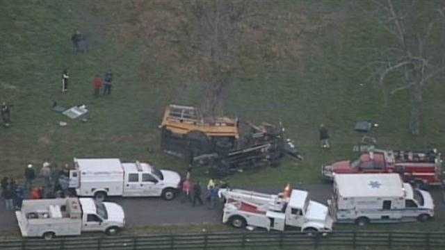Two young children were killed and seven others were injured in a bus crash in Carroll County on Monday.