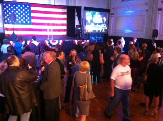 A crowd starts to gather at the Louisville Democratic headquarters.