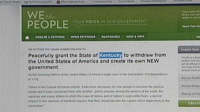 According to the White House, more than 7,000 people have signed petitions for Indiana and Kentucky to secede from the union.