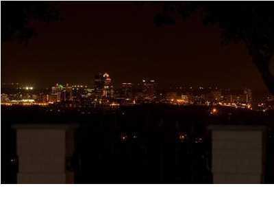 Finally, what the skyline looks like at night from this Plum Hill Mansion featured on Realtor.com.