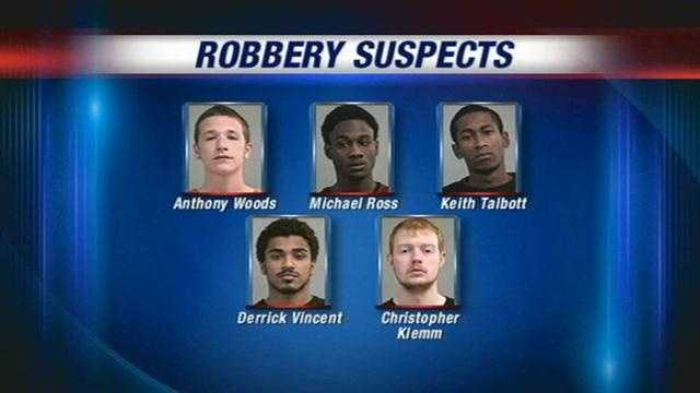 Police have arrested five suspects in a string of strong arm stick-ups and robberies.