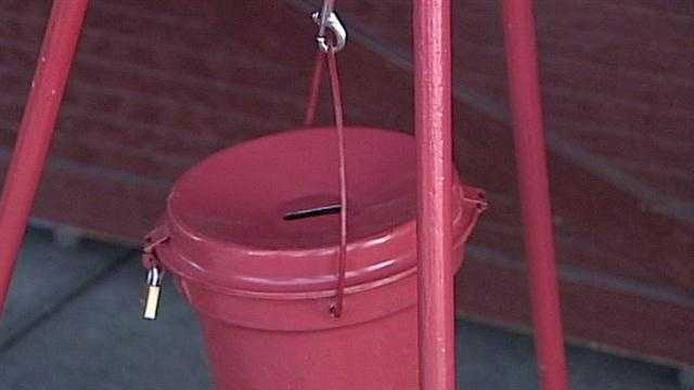 The search is on for a real-life Grinch, after police say a thief stole a Salvation Army kettle from a bell-ringer Wednesday night.