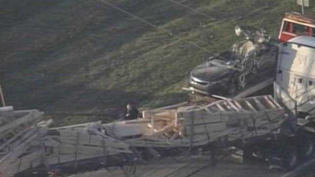 The WLKY NewsChopper flies over a crash in Oldham County.