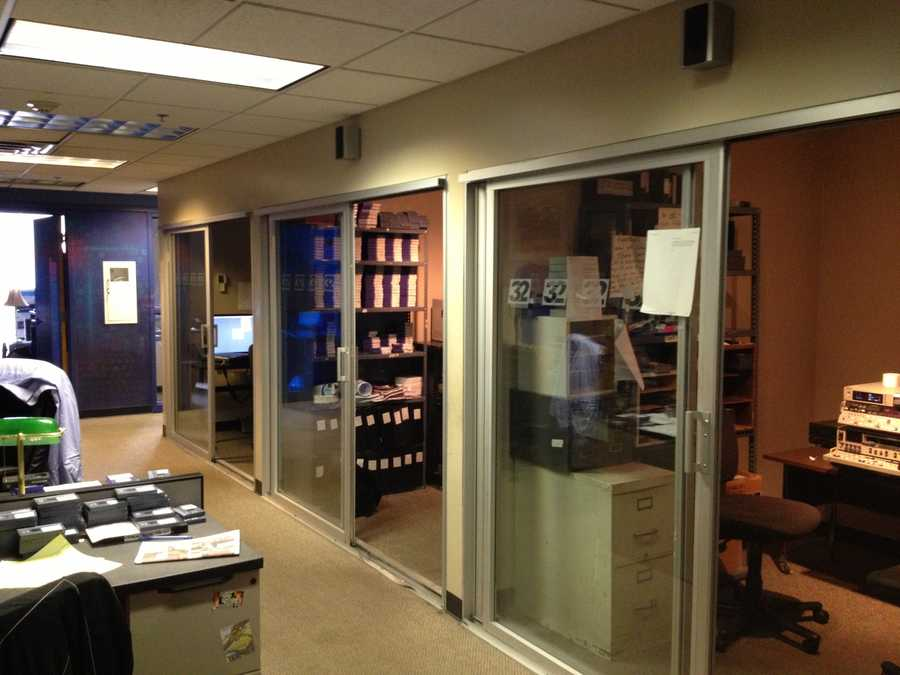 A view of some of the editing suites near the sports department