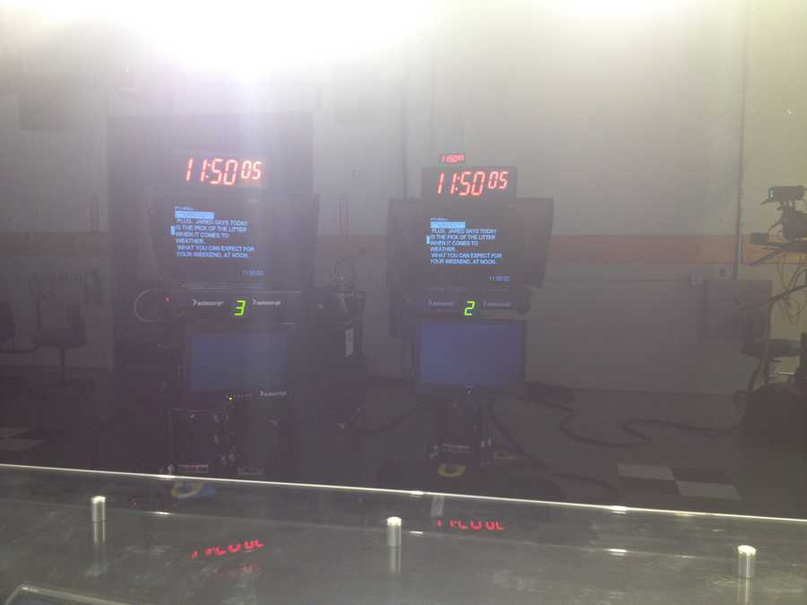 You see the anchors... this is their view from the news desk... the lights are BRIGHT!