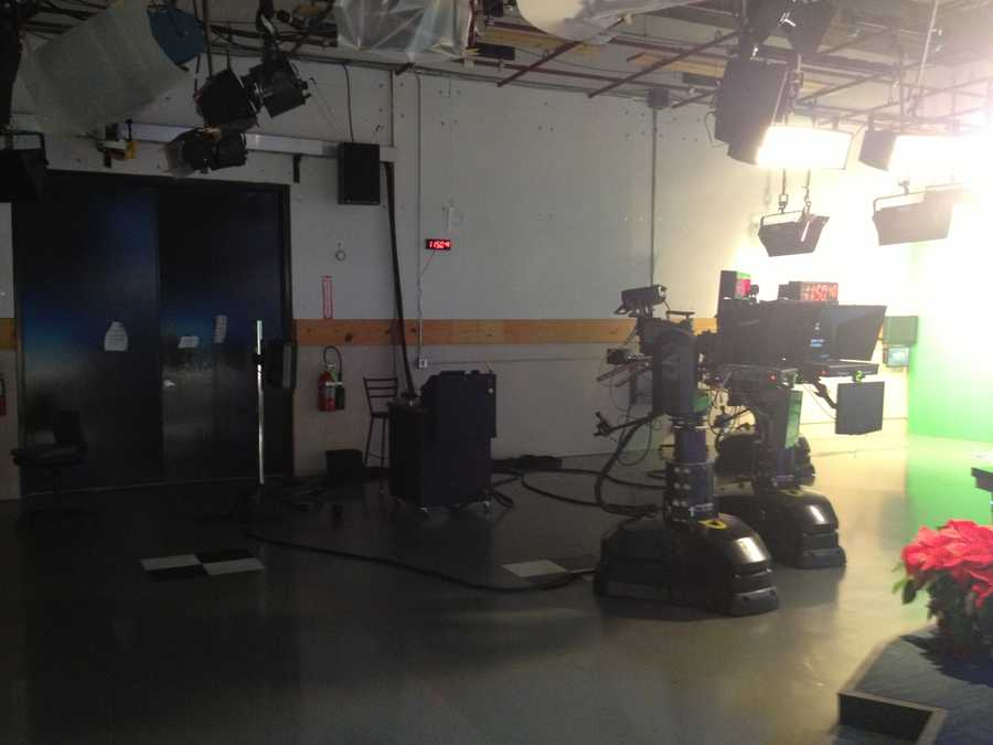 Behind the cameras... Lots of clocks help anchors, reporters, meteorologists and floor crew keep track of the time